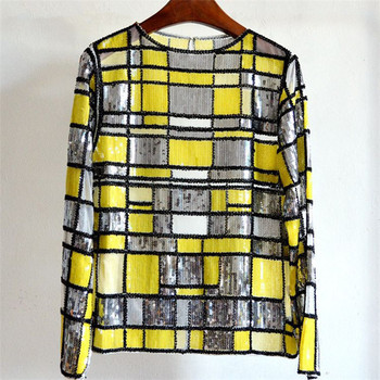 Women Spring Nail Beads Perspective Yarn Shirt Sequined Sexy Plaids Shinnig Long Sleeve Tops Shirts