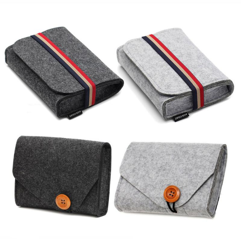 Key Coin Package Wallet Mini Felt Pouch Chargers Storage Bags For Travel USB Data Cable Mouse Organizer Electronic Gadget Bags