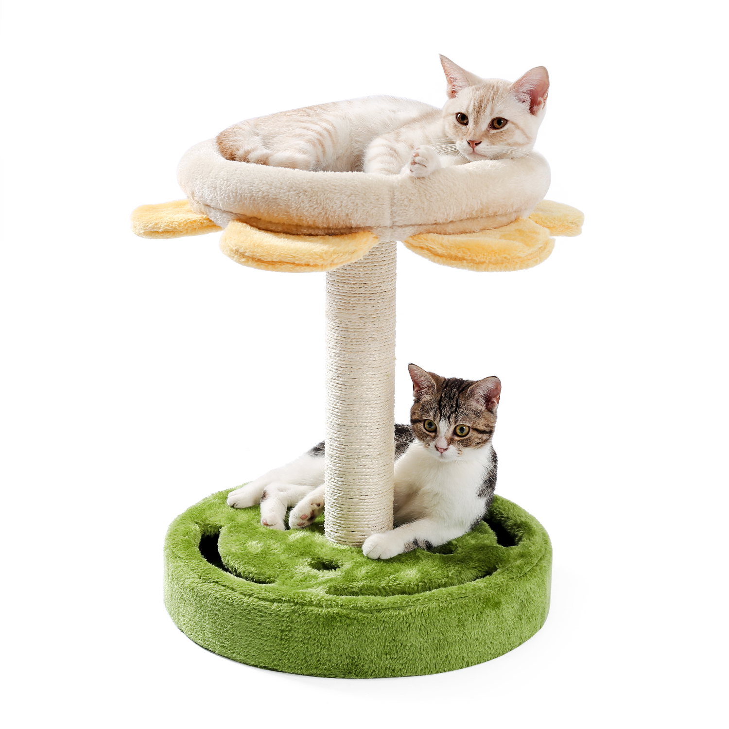 Cat Tree 5 Levels Modern Cat Tower Cat Sky Castle with 2 Cozy Condos, Luxury Perch and Interactive Spring Ball