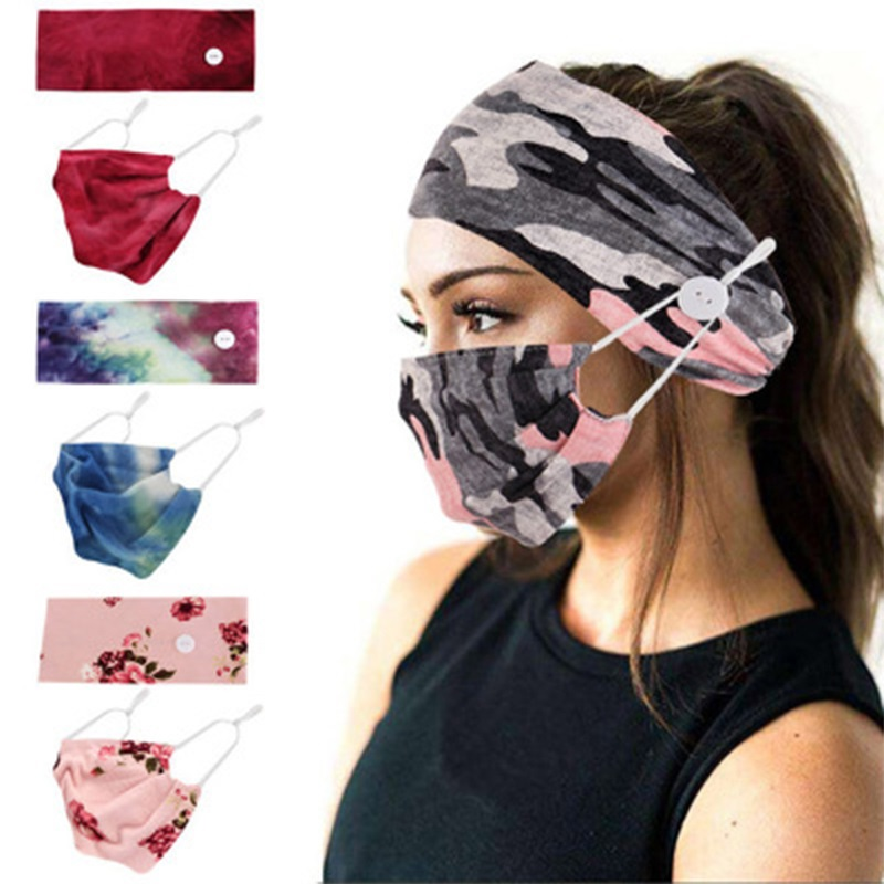 Women Tie-Dye Cotton Button Hair Band Printed Elastic European Headband Face Mask Headwear Set Protection Yoga Exercise Scarf(China)