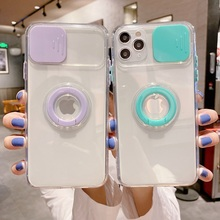 Camera Lens Protection Ring Stand Phone Case For iPhone 12 11 Pro Max X XR XS 7 8 Plus SE 2020 Soft TPU Clear Phone Back Cover