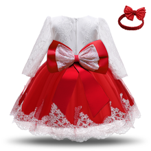 Baby Girls Christmas Princess Dress 1 Year Old Birthday Party Long Sleeve Lace Dress Winter Infant Newborn 2nd Christening Gown