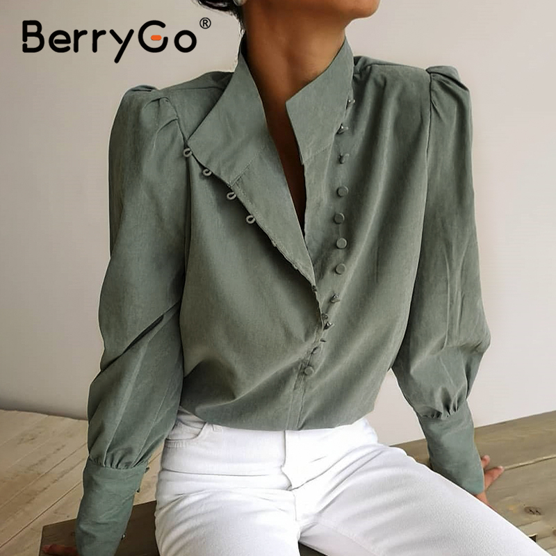 BerryGo Elegant women blouse shirt vintage Puff sleeve solid female top shirt Casual work wear office lady olive green top blusa|Blouses & Shirts| - AliExpress