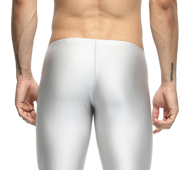 Sexy casual Compress Fitness Long Johns Shapewear Men's Stretch Workout Nylon solid Silver Tights Lounge Pants Home and Out Door 6