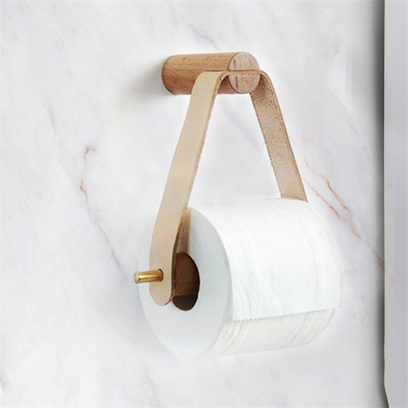 VOGVIGO Multipurpose Tissue Holder Toilet Easy Install Restaurant Roll Paper Holder Vertical Wall Mount Bathroom Wooden Storage