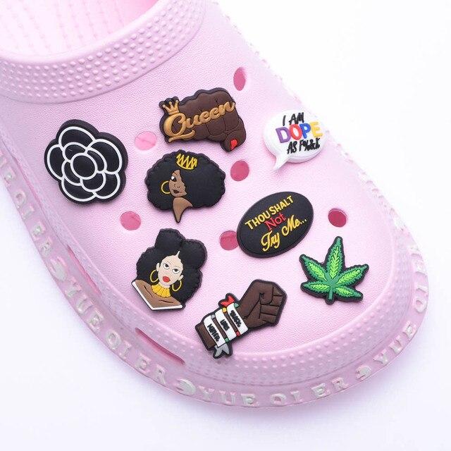 1pcs Black King Shoes Charms Accessories For Clog Shoes Custom Croc Charms Decorations Sandals Designer Jibitz Wholesale