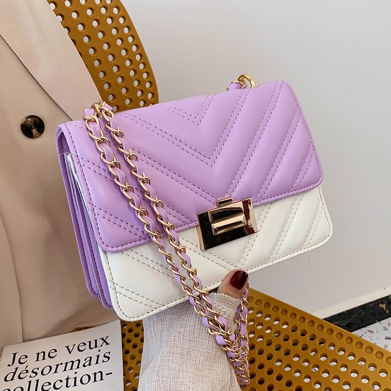 V-LINE PU Leather Chain Design Crossbody Bags Women Small Chain Handbag Small Bag Hand Bag Ladies Designer Evening Bags