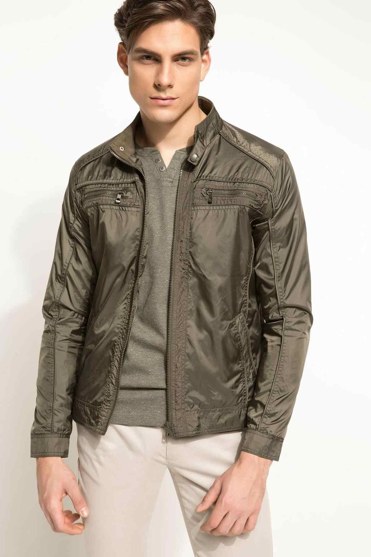 DeFacto erkekler sonbahar moda gümüş gri ordu yeşil ceket ceketler rüzgarlık fermuar üst bez serin Mont-H8288AZ18SP