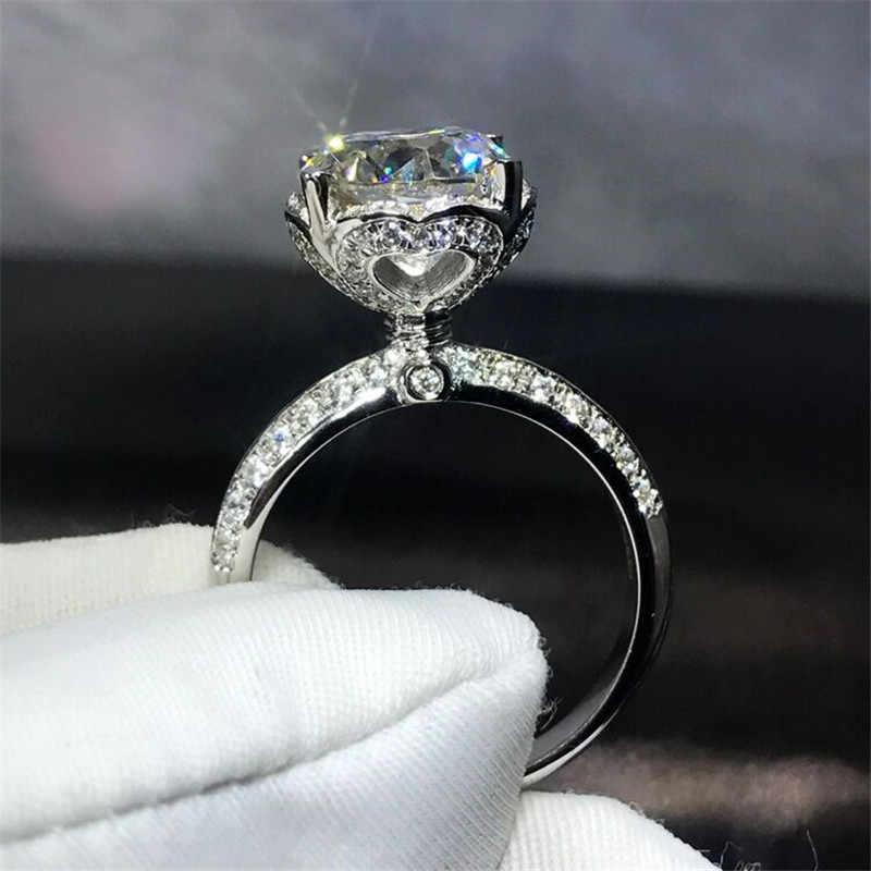 2019 herz Blume Versprechen ring 925 Sterling silber AAAAA cz Engagement Hochzeit Band Ringe für frauen Braut Schmuck Erklärung