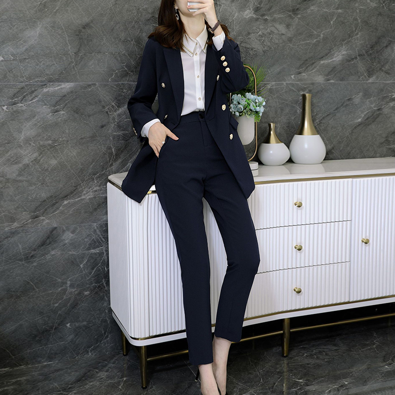 High quality fabric plus size S-5XL professional female suit pants two-piece Autumn and winter ladies jacket Casual trousers