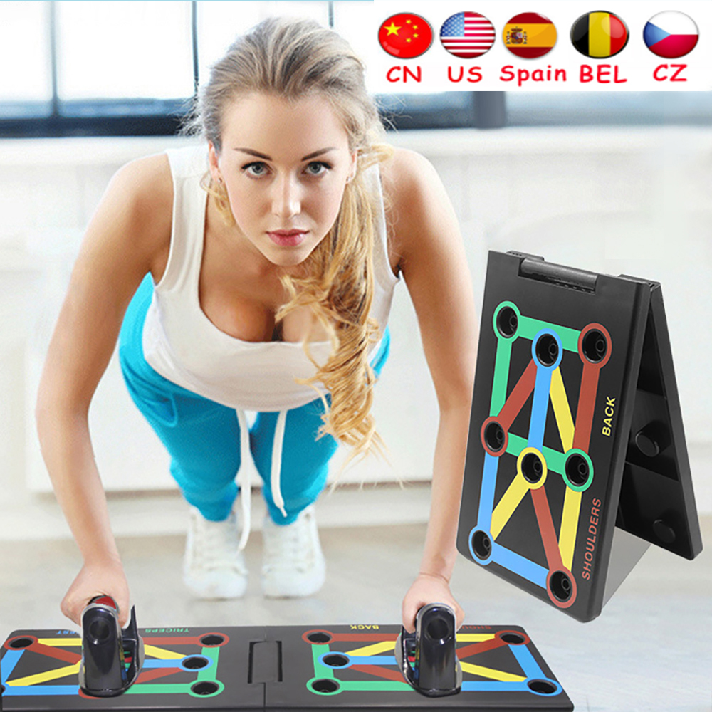 Push Up Rack Board 9 In 1 Body Building Fitness Exercise Tools Men Women Comprehensive Push-up Stands Body Building Equipment