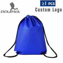 Zackpack 5pcs Drawstring Bags Custom Logo Waterproof Pouch Polyester Backpack Pull Rope Canvas Gym Sack Mochila Knapsack