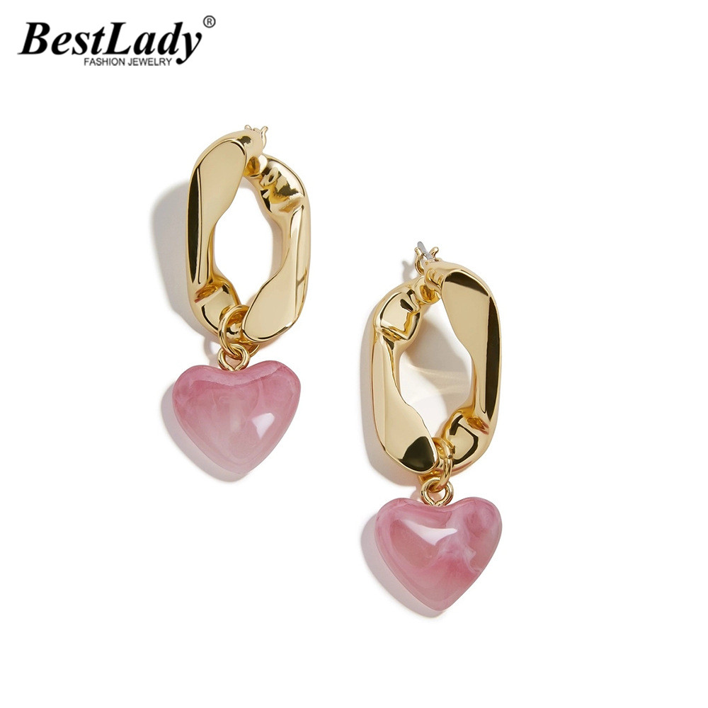 Best Lady Bohemian Heart <font><b>Drop</b></font> <font><b>Earrings</b></font> for Women <font><b>Elegant</b></font> Metal <font><b>Gold</b></font> Color Geometric <font><b>Drop</b></font> <font><b>Earrings</b></font> Accessories <font><b>Jewelry</b></font> Wholesale image