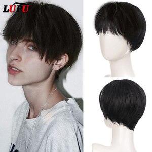 Парик LUPU из коротких синтетических волос черного и светлого цвета, парик для косплея красивого мальчика, Натуральные Искусственные волосы, ...