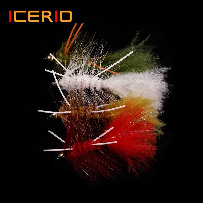 Icerio 6 pçs latão cabeça do grânulo de borracha pernas wooly bugger streamers pesca mosca iscas azeitona vermelho de água salgada amarrando gancho truta moscas isca