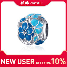 WOSTU Blue Blossom Flowers Beads 100% 925 Sterling Silver Charm Fit Original Bracelet Pendant Fashion Jewelry Making FNC087(China)