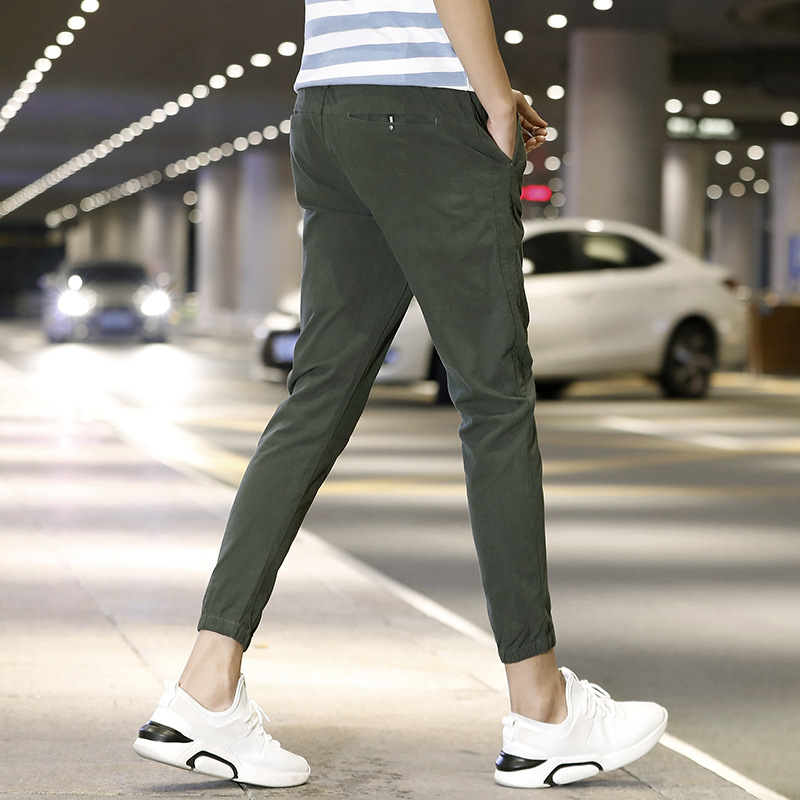 Summer Elasticity Slim Fit Pants Casual Pants Young MEN'S Sports Ninth Pants MEN'S Pants Zm5477