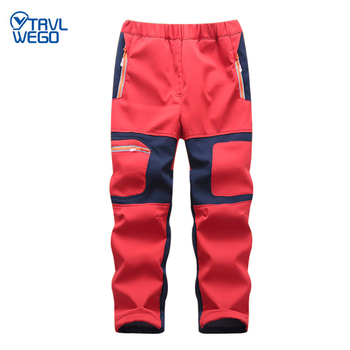 TRVLWEGO Boys Girls Hiking Pants Kids Winter Warm Children Waterproof Fleece Softshell Color stitching Trousers For Ski Trekking the arctic light waterproof pants kids outdoor windproof softshell for boys girls blue red winter fleece hiking trouser children