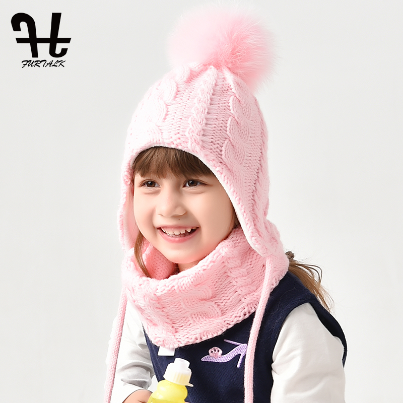 FURTALK Kids Hat And Scarf Set For Girls And Boys Fleece Knit Winter Hats Child Pompom Hats Warm Beanies Cap For 2-6 Years Old
