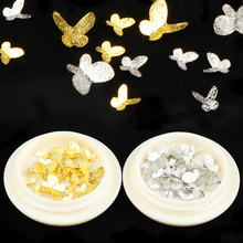 1Box Gold Silver Mix Metal Butterfly 3D Nail Art Decorations Nail Rivets Shiny Charm Strass Manicure Accessories 1box gold silver mix metal butterfly 3d nail art decorations nail rivets shiny charm strass manicure accessories