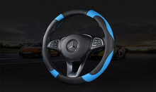 Cobertura de volante do carro respirável anti deslizamento couro do plutônio capas de direção adequado 37-38cm decoração automóvel quatro estações 2021 novo