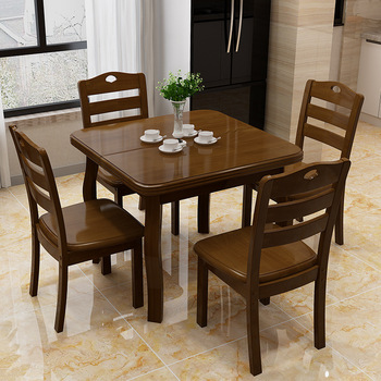 цена на Modern Simple Dining Table Made of Solid Wood Small Wooden Folding Table 4-Person Retractable Square Table