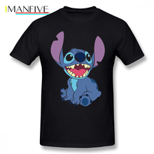 Lilo Stitch T Shirt T-Shirt Short Sleeve Cotton Tee Cute Plus size Fashion Print Men Tshirt