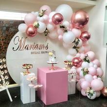 101 diyの風船花輪アーチキットローズゴールドピンクホワイトバルーンベビーシャワーのための結婚式の誕生日パーティーの装飾