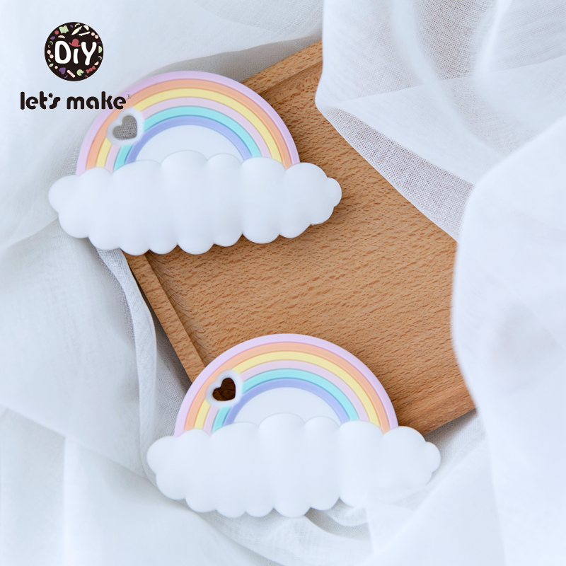 Rainbow Silicone Teethers CAartoon Shape 5pc BPA Free Tint Rod Food Grade Silicone Baby Teethers Teething Toys Patent Let's Make