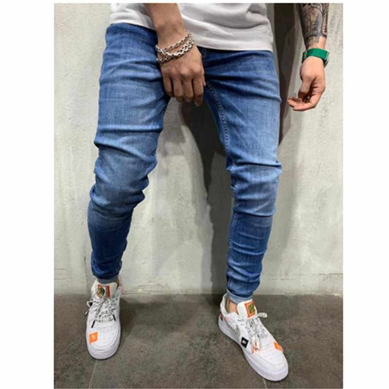 3 Styles Men Stretchy Skinny Biker Slim Fit Denim Men Multi-pocket zipper pencil Pants men casual jeans fashion Casual Trousers