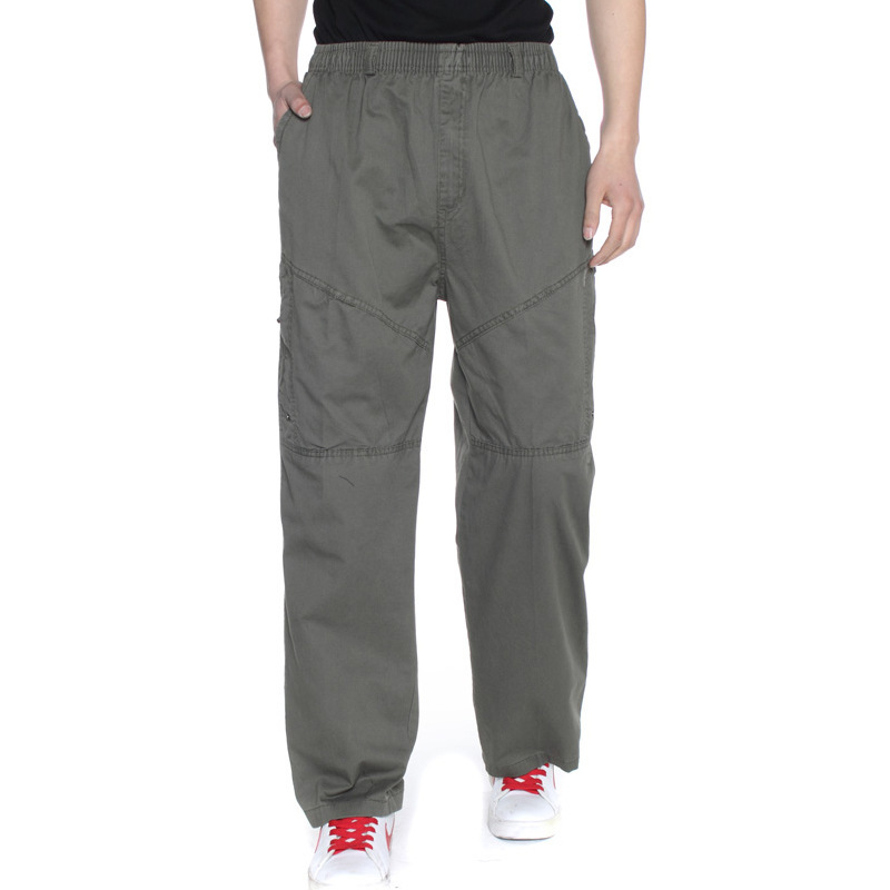 Middle-aged Men Elastic Waist Trousers Middle-aged Athletic Pants Casual Loose-Fit Plus-sized High-waisted Workwear Outdoor Pant