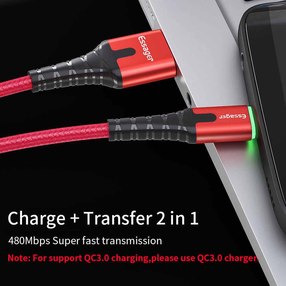 Essager LED Usb タイプ C ケーブル高速充電ワイヤーコード 3 メートル USBC ケーブル xiaomi K20 サムスン Oneplus 7 プロ携帯電話 USB-C 充電器