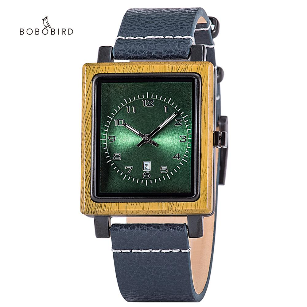 BOBO BIRD Wooden Man's Wactch Quartz Square Dial Wistwatches for Men часы мужские Date Display Wholesale in Christmas Gift Box
