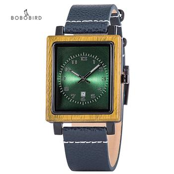 BOBO BIRD Wooden Man's Wactch Quartz Square Dial Wistwatches for Men часы мужские Date Display Wholesale in Christmas Gift Box - discount item  66% OFF Men's Watches