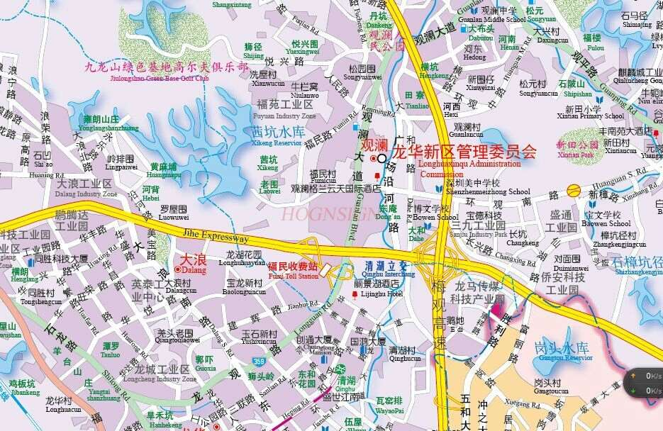 Shenzhen Map Chinese-English Translation Street Map Of Shenzhen City District Shenzhen Map Traffic Map Road Map Guide