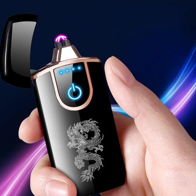 Encendedor eléctrico USB de doble encendedor de arco a prueba de viento de plasma electrónico táctil de huella digital encendedor de cigarrillos de metal regalo para hombres