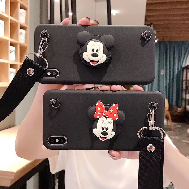Disney Iphone 11 Case | Cartoon Mickey Minnie Folding Stand Shoulder Strap Case For Iphone 11 Pro Max XR X XS MAX 6 S 7 8 Plus Soft Girl Lanyard Cover