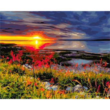 Frameless DIY Painting By Numbers Landscape Sunset Picture By Numbers For Adults Modern Wall Art Decors Handpainted Diy Gift Art gatyztory frameless picture diy painting by numbers animals modern picture canvas by numbers for home wall art decors 40x50cm