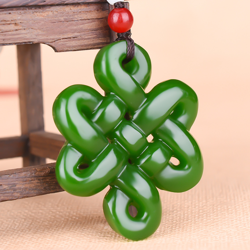 Chinese Green Jade  Knot Hollow-out Pendant Necklace Charm Jewellery Fashion Accessories Hand-Carved Woman Luck Amulet
