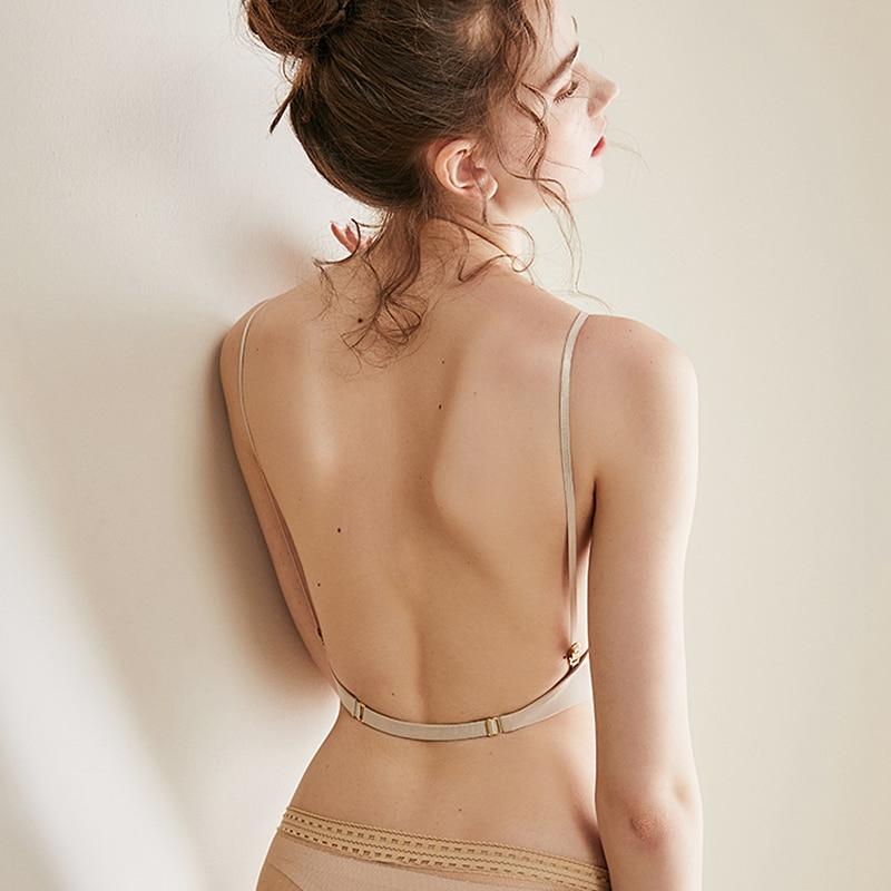 Kadın iç çamaşırı küçük göğüs seksi düşük geri sutyen dantel örgü ince sütyen yumuşak dikişsiz kadın iç çamaşırı Backless pad Bralette