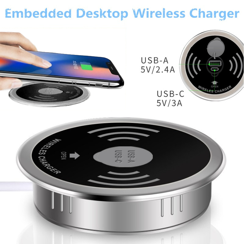 Built in Desktop Device Qi Fast Wireless Charger 15W 10W 7.5W or 5W Quick Charger 3.0 Embedded Caricabatter Tipe C Chargeur 1