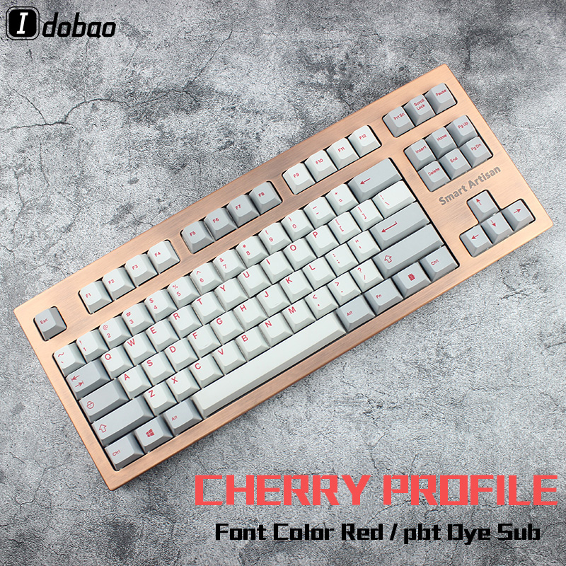 Red Font Dye Sub Keycaps Set Thick PBT Plastic 139 Cherry Profile Mechanical Keyboard Gh60 Xd60 Xd84 Cospad Rs96 Zz96 Fc660