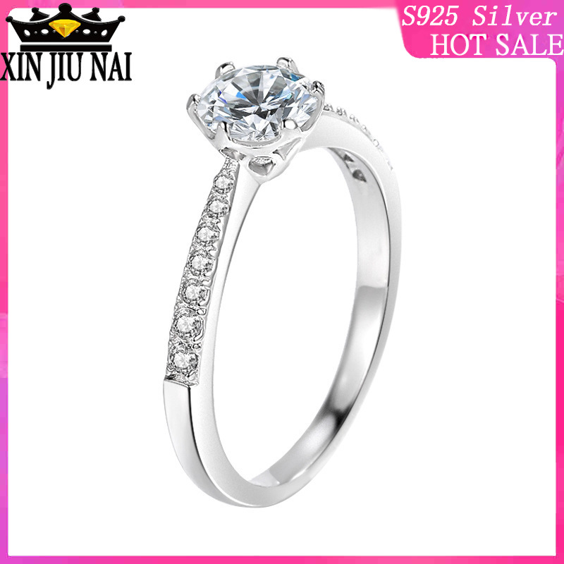 COLORFISH 925 Sterling Silver Engagement Ring Classic Four Prongs 0.7 Ct Round Cut Women Jewelry Split Shank Female Finger Rings