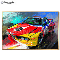 Professional Artist Hand Painted Colorful Car Canvas Painting for Room Decor Modern Impression Racing Car Wall Art Oil Painting