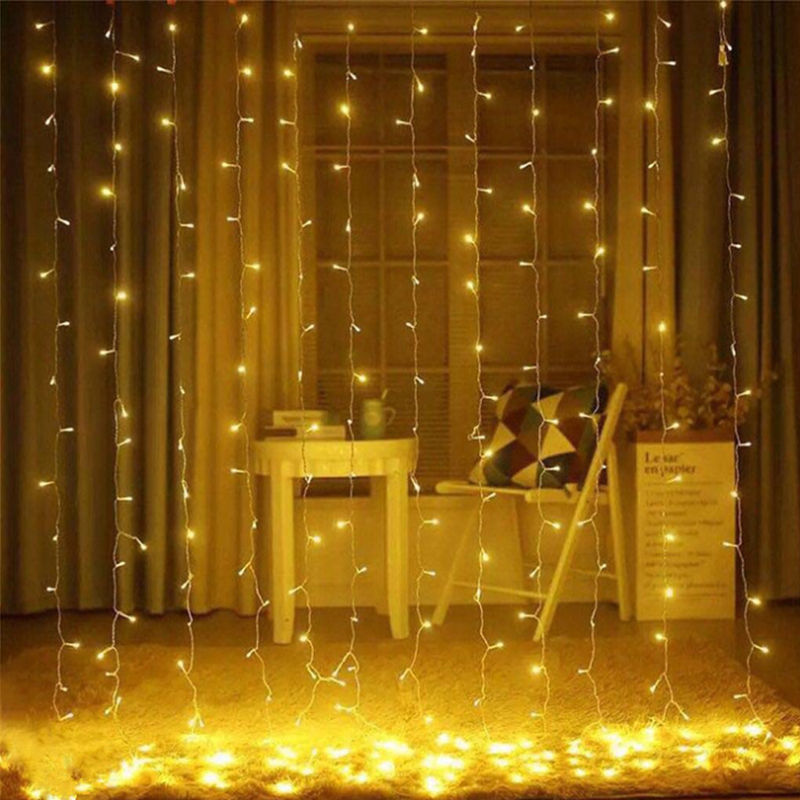 3x3m 300 LED Icicle Fairy String Lights Christmas Led Wedding Party Fairy Lights Garland Outdoor Curtain Home Decor