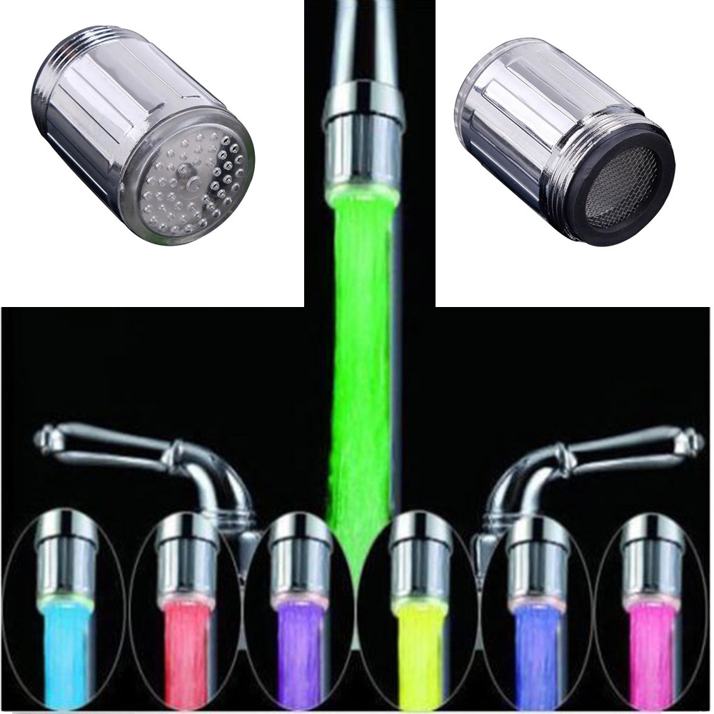Wonderlife Luminous Light-up LED Water Faucet Shower Tap Basin Water Nozzle Bathroom Kitchen Heater Faucets Thermostat