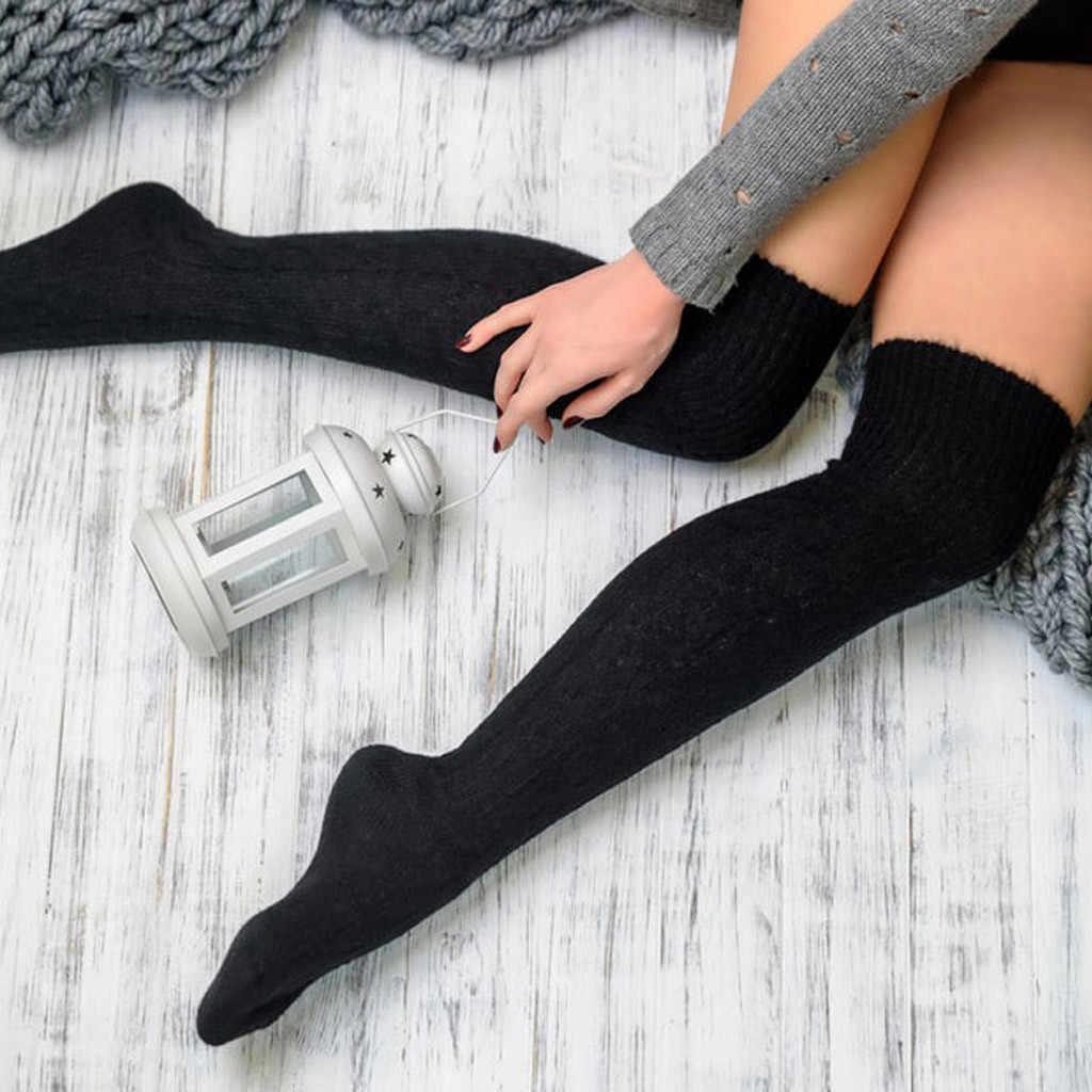 Winter Socken Mädchen Damen Frauen Oberschenkel Hoch über den knie Socken für Mädchen kleid Lange Baumwolle Strümpfe Warme Mittel strümpfe socken