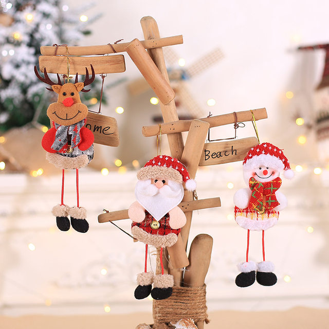 2019 New Small dolls Christmas tree decorations pendant Christmas day children's small gifts hanging lanyard dolls 14