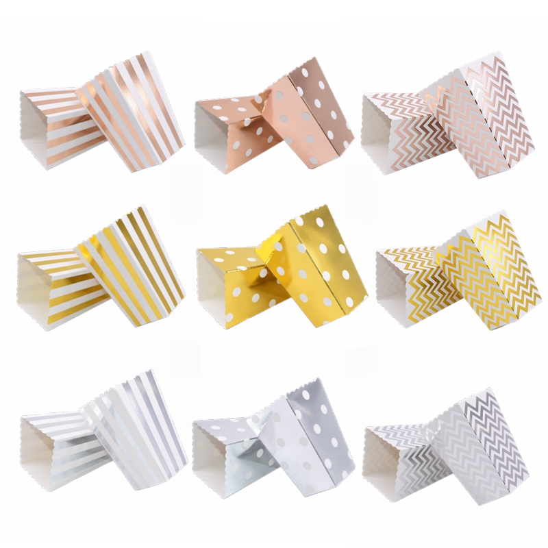 6/12pc Paper Popcorn Box Gold Stripe Boxes Candy Bags Gift Box Snack Favors for Kids Birthday Wedding Party Favors Decor Supplie