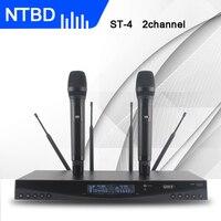 NTBD Sahne Performansı Karaoke Hoparlör Yüksek Kaliteli ST-4 Profesyonel Çift Kablosuz Mikrofon Sistemi iki kablosuz mikrofon